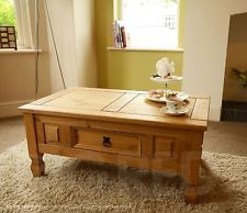 Corona Distressed Mexican Waxed Solid Pine Rustic Coffee Lamp Table with Drawer