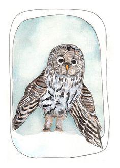 Snow Owl Print // 5x7 Owl Print // Animal от michelemaule на Etsy