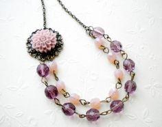 Purple Flower Cabochon Necklace