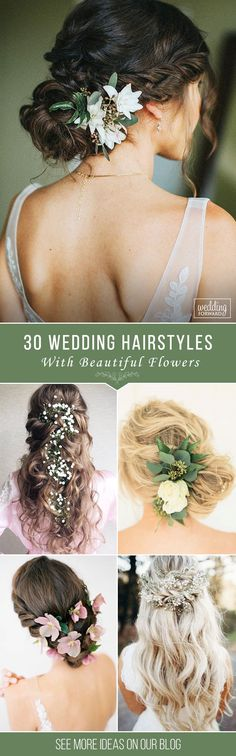 30 Unforgettable Wedding Hairstyles With Flowers ❤ To emphasize tenderness, bride should choose wedding hairstyles with flowers. We have collected stunning hairstyle ideas for you. See more: http://www.weddingforward.com/wedding-hairstyles-with-flowers/