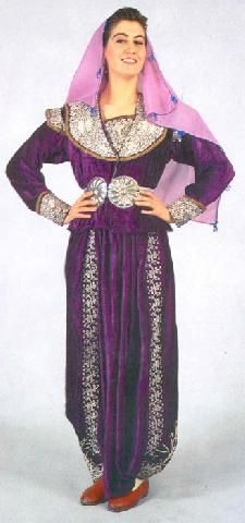 Traditional festive costume, from Seyitgazi (prov. Eskişehir). Mid-20th century.  Still produced to-day (home craft hand-made embroidery) as wedding dresses.