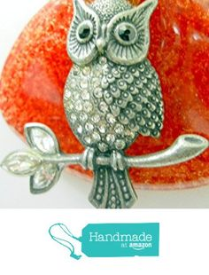 Red Fused Glass Pendant with Silver Tone Metal Owl Necklace. Copper Wire Wrapped. Marquise and round shape Clear Rhinestones on Tree Branch and front of the Owl. https://www.amazon.com/dp/B01MU5LAMX/ref=hnd_sw_r_pi_dp_zSBzybJNHBR82 #handmadeatamazon