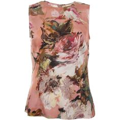 Dolce & Gabbana Pink Silk Floral Top (810 CAD) ❤ liked on Polyvore featuring tops, blouses, shirts, brown shirt, shirts & blouses, pink silk blouse, pink blouse and floral print blouse