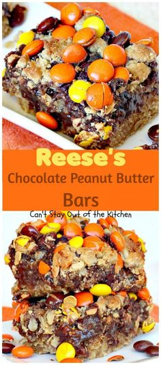 Amazing chocolate brownie made with oatmeal and peanut butter, a chocolate-condensed milk layer and Reese's pieces on top. Rich, decadent, addictive!