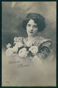 Edwardian Romance 1910s Original Old Photo Postcard Lady Flower Rose Couture | eBay