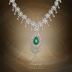 """Wrap yourself with this stunning green cabochon diamond necklace"" #cabochondiamond #greencabochon #begani_jewels #elegantjewelry #diamondjewelry #diamondnecklace #luxuryjewelry #finejewelry #beautiful"