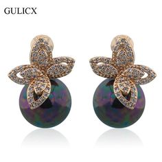 GULICX Fashion Lady Black Pearl Earring  Gold Plated Stud Earrings White Crystal Leaf Cubic Zirconia Wedding Decoration E515