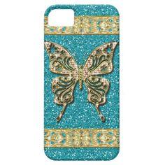 Blue Aqua Glitter Golden Butterfly iPhone 5 Cover