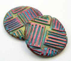 IMG_6721 Polymer Clay Canes, Polymer Clay Pendant, Polymer Clay Creations, Polymer Clay Earrings, Clay Texture, Ceramic Jewelry, Handmade Beads, Clay Tutorials, Bead Art