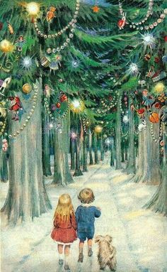 one of my all time favorite pictures Vintage Victorian children dog Christmas forest trees decorations decorated, boy girl and dog forest woods path walking Christmas Scenes, Noel Christmas, Retro Christmas, Christmas Greetings, Winter Christmas, Christmas Postcards, Magical Christmas, Christmas Wonderland, Cottage Christmas