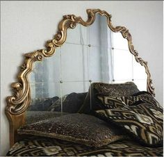 The mirrored headboard - elegant here with the gilded frame and detail in the mirror. BellaRusticaDesign.com
