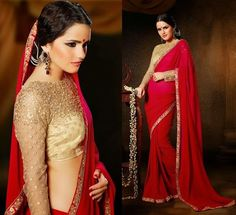 Stunning gold and red saree