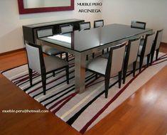 Hermoso comedor ARCINIEGA, con moderna mesa de acero y sillas finamente tapizadas. ¿y tu como quieres tu comedor? Consultas y pedidos: mueble.peru@hotmail.com Telefono: 7989801
