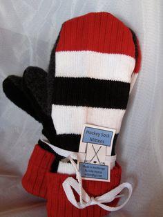 Hockey Sock Mittens by JulesofAlaska on Etsy Caps Hockey, Hockey Socks, Hockey Memes, Hockey Quotes, Ice Hockey, Hockey Crafts, Hockey Decor, Hockey Room, Hockey Tournaments
