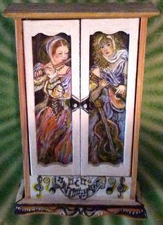 OOAK Original Hand Painted Artisan Cabinet Ladies Figures Music Instruments | eBay