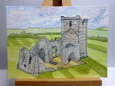 Items similar to ACEO original ink and watercolour - ruins of Knowlton Church, Cranborne, Dorset, England on Etsy Dorset England, 12th Century, Pigment Ink, Watercolour Painting, Miniatures, Display, The Originals, Artist, Cards