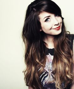 Dark Brunette to Burnt Caramel Brunette Ombre w/ side swept bangs Black Hair Ombre, Ombre Hair Color, Dip Dye Black Hair, Purple Hair, Hair Colors, Cute Long Haircuts, Long Hair Cuts, Long Hair Styles, Zoella Hair