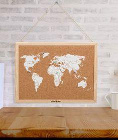 Una manera original de tener un mapa del mundo con un estilo desenfadado y moderno.