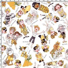 Bee Tossed White Fabric Yard Lorilie designs