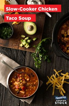 "We are ""huge"" fans of recipes that are essentially ""throw everything into a huge pot, walk away, come back to deliciousness, "" and this Chicken Taco Soup is no exception. To everyone who is also part of the ""Almost More Toppings Than Soup"" club, you're always invited to share. Even if it's not Taco Tuesday. Oh, and did we mention this makes for a great #gameday recipe?"