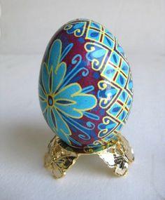 blue Pysanka Ukrainian Easter egg batik by UkrainianEasterEggs
