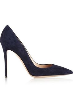 Heel measures approximately 100mm/ 4 inches Midnight-blue suede Slip on