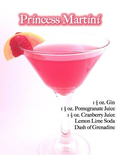 Signature wedding drinks: Princess Martini. - (Also, O-Cosmo, Blue Bird Martini & Orange Sunrise.)