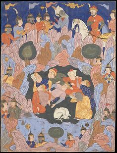 """centuriespast: """" """"The Seven Sleepers of Ephesus Discovered by Alexander the Great"""", Folio from a Falnama (Book of Omens) Folio from an illustrated manuscript Iran, Qazvin This folio depicts. Islamic World, Islamic Art, Nocturne, Medieval, Les Religions, Ephesus, Canvas Prints, Framed Prints, Alexander The Great"""