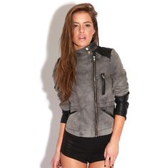 Sasha Charcoal Canvas Biker Jacket ($29) ❤ liked on Polyvore featuring outerwear, jackets, grey, gray denim jacket, grey denim jacket, gray moto jacket, biker jean jacket and grey jacket