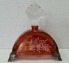 Vintage Cristallo E Argento Crystal Silver Perfume Bottle