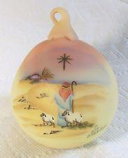 Fenton Art Glass Burmese Hand Blown Round Ornament