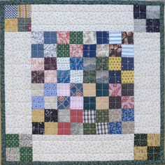 interesting, needs one more element...a line around the central square?....Four Patch Fever by Barbara Schaffer