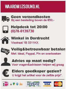 * Vanaf €50,- betaald u geen verzendkosten! * Vandaag besteld is de volgende werkdag in huis! * Uit voorraad leverbaar. * 1 jaar garantie. * Veilig betalen met ideal, paypal, pin, contant of overboeken. * Altijd de beste service! * Altijd de beste prijs! @ www.jzsound.nl