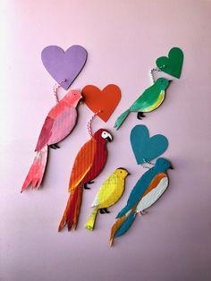 Lovebirds for Your Lovebird: Easy Cardboard Valentines! — super make it Cardboard Animals, Cardboard Crafts, Yarn Crafts, Diy And Crafts, Arts And Crafts, Paper Crafts, Cardboard Kitchen, Recycled Crafts, Birds For Kids