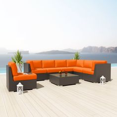 NEW Uduka Kahlo 8 Pcs Outdoor Orange Sectional Patio Furniture Espresso Brown Wicker Sofa Set All Weather Couch
