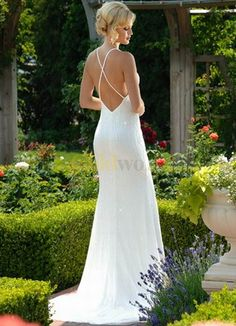 backless wedding dresses | silhouette zipper in chapel train backless wedding dresses wd0326