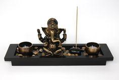 Zen Garden Garten Ganesh Rocks Tea Light Candle Incense Holder Ganesha Hindu
