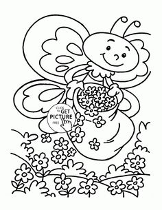 cute little bee spring coloring page for kids seasons coloring pages printables free wuppsy