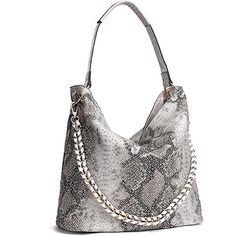 186535c710 JOYSON Women Handbags Hobo Tote Bags PU Leather Shoulder Bags Fashion Purse  Silver  99.98 Leather Shoulder