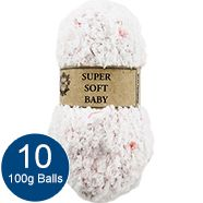 White and Pink 100g Super Soft Baby Yarn - Pack of 10