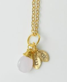 Wire wrapped briolette with handstamped intial leaves by BipAndBop, $19.99