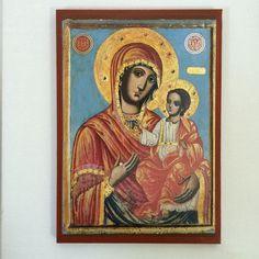 Our Lady Theotokos - Mother Of God - handmade orthodox byzantine icon Byzantine Icons, Our Lady, Mona Lisa, Christian, Etsy Shop, Unique Jewelry, Handmade Gifts, Artwork, Mary