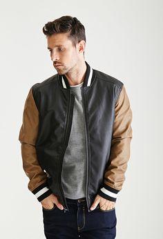 21 MEN Colorblocked Faux Leather Varsity Jacket