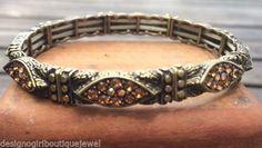 Art Deco Vintage style SmokyTopaz color Austrian Crystal Bangle Bracelet  #Bangle