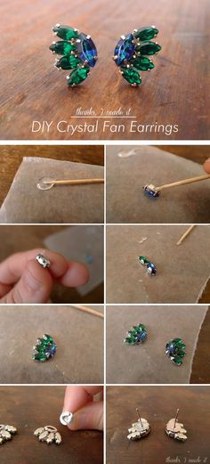 cool DIY Bijoux - Thanks, I Made It : DIY Crystal Fan Earrings