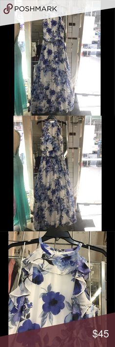 35db3b0a717e Chetta be chiffon lined print dress,ivory,peri,NWT Description 💯% polyester