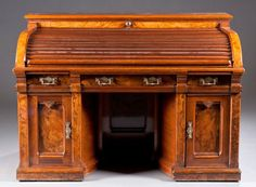 "Sold For $2,750 in 2013  Patented Wooten Victorian Desk, Ca. 1870  43"""" H x 59"""" L x 36"""" D"