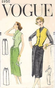 Vintage 1950's Sewing Pattern Woman's Vogue Skirt & Vest Waistcoat B 36""