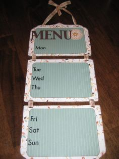 Some version of this for my menu/calendar board?