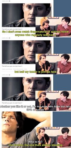 So, according to Dan and Phil - Dean is 50% of Tumblr, and Sam is always bleeding... [gifset]